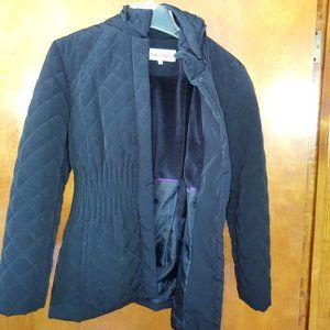 Black quilted winter coat w/Hood